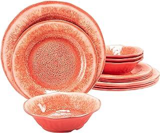 مجموعة أواني الطعام من الميلامين 12 قطعة من الأطباق البلاستيكية المتينة مجموعة أطباق الأطباق آمنة للاستخدام في غسالة الأطب...