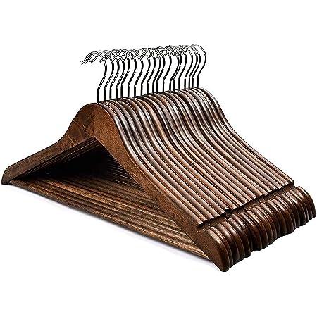 HOUSE DAY Lot de 20 Cintres en Bois Crochet Rotatif Classique Style Rétro résistants de première qualité pour Chemise Pantalon Manteau Robe Costume Couleur Brou de Noix