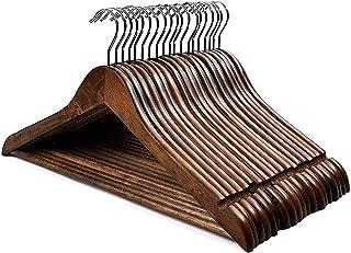 HOUSE DAY Lot de 20 Cintres en Bois Crochet Rotatif Classique Style Rétro résistants de première qualité pour Chemise Pant...