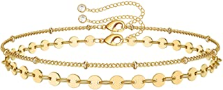 Yoosteel Dainty Layered Bracelets for Women, 14K Gold Filled Layering Oval Chain Bracelet Handmade Turquoise Evil Eye Pear...