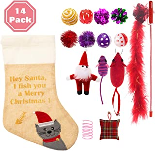 PAWCHIE Christmas Cat Stocking Toys 14 Pcs Cat Toys Set for Kitten Variety Pack
