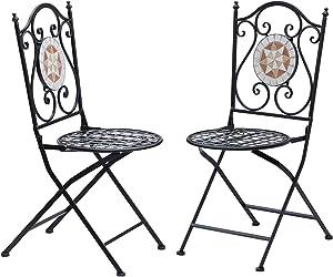 Outsunny Set de 2 Sillas Plegables de Jardín Bistro Silla Asiento Mosaico para Terraza Balcón Acero Carga 120kg