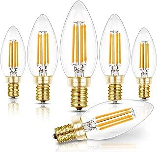 Hizashi Fully Dimmable Candelabra LED Bulbs 4W, 90+ CRI, 450 Lumens, 40W Equivalent E12 B10/B11 Filament LED Candle Bulbs, 2700K Warm White, UL Listed Chandelier Light Bulbs- 6 Pack