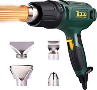 Heat Gun, TECCPO 1500W Professional Electric Hot Air Gun 3-Temp Mode 122℉~1112℉ 250L/s~500L/s, 4 Nozzle Attachments Fast Heating in Seconds Perfect for Crafts, Shrinking Wrapping