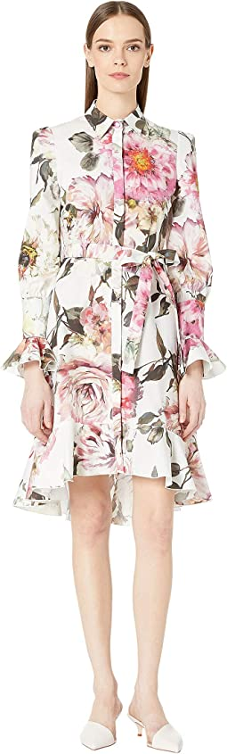 Floral Printed Cotton Shirtdress with High-Low Skirt