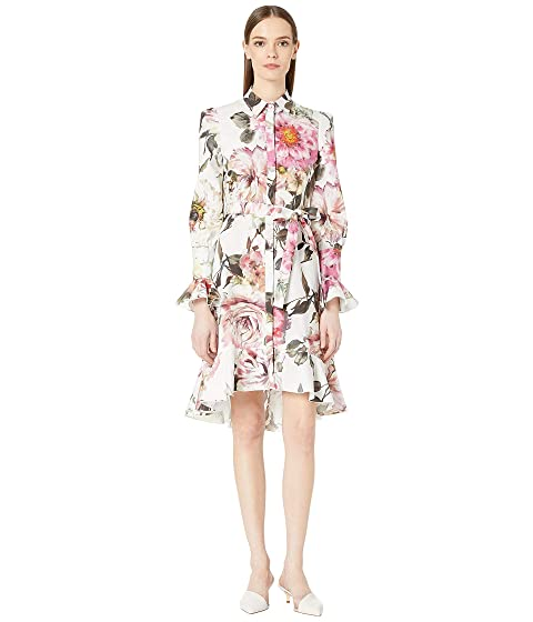 Marchesa Floral Printed Cotton Shirtdress with High-Low Skirt