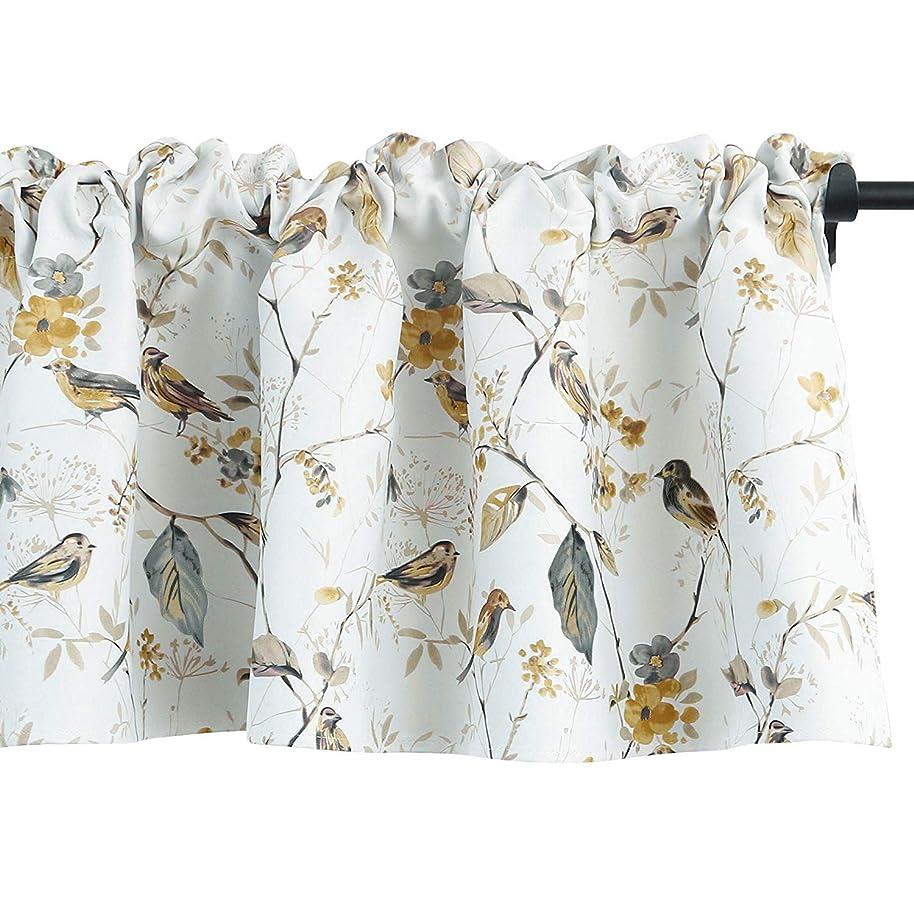 VOGOL Birds Vines Printed Energy Saving Curtains Valance, Rod Pocket Valance for Windows, 52 x 18 Inch (Bird-Grey)