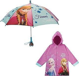 Disney Little Girls Frozen or Minnie Mouse Slicker and Umbrella Rainwear Set