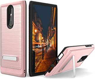 UNC Pro 2 in 1 Cell Phone Case with Kickstand for Coolpad Legacy 3705A, Brushed Metal Style Hybrid Case, Shockproof Bumper Anti-Scratch Dual Layer Cover, Rose Gold