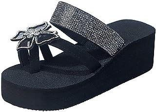 ZRSH Femme Sandale Ete Plate Grand Chaussures de Ville Tongs Sandale de Plage Clip Toe Bout Ouvert Tongs Papillon en Stras...