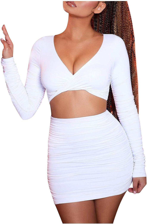 Ywbaw Women Summer Fashion Solid Color Sexy V-Neck Slim Bag Hip Skirt Suit Dress