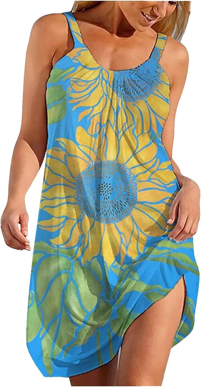 Summer Dresses for Women Casual Beach,Womens Sleeveless Floral Mini Dress Backless Criss Cross Hallow Out Loose Boho Sundress