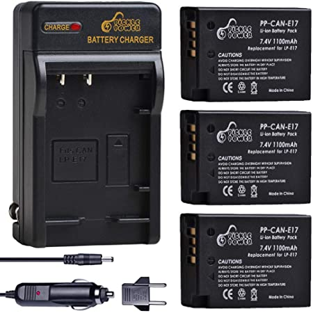 includes charger Canon LP-E17 Battery Pack for EOS 750D 800D etc.