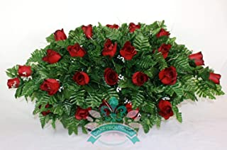 XL Classic Red Roses Cemetery Tombstone Saddle Arrangement