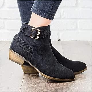 Ankle Boots Women Low Heel Leopard Zipper Women Boots Shoes