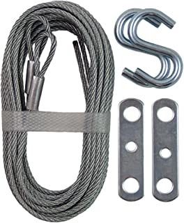 Ideal Security Inc. SK7112 Garage Door Extension Kit 2 Galvanized Steel Braid Cables, S Hooks and Brackets,