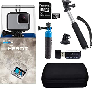 GoPro Hero7 White Bundle with Float Handle, Handheld Monopod, Camera Case, Memory Card Reader, and 16GB MicroSDHC Card