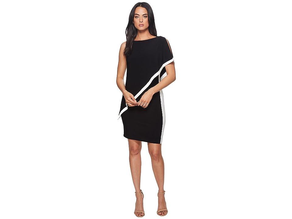 LAUREN Ralph Lauren Timna Two-Tone Matte Jersey Dress (Black/Lauren White) Women