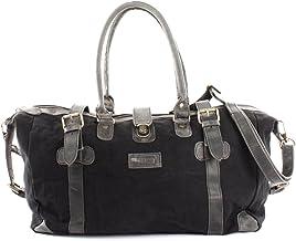 LECONI Shopper aus Canvas  Leder im Vintage-Look kleiner Weekender Handgepäck Reisetasche Sporttasche Fitnesstasche Unisex für Damen  Herren 45x30x20cm LE2008-C