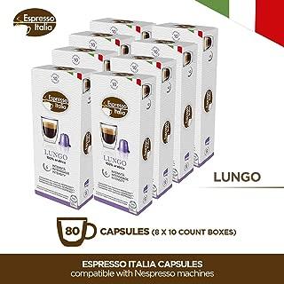 Nespresso Capsules - Espresso Italia Coffee pods for Nespresso Original Line machines 80 count certified compatible with genuine Nespresso Original. LUNGO blend, medium intensity, gourmet coffee