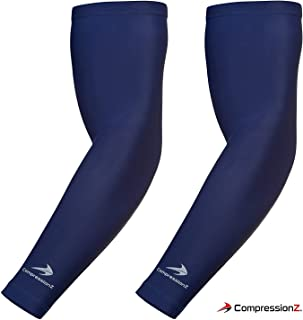 CompressionZ Compression Arm Sleeves Men Women - Basketball Tennis Running Lymphedema Fitness & Sport Recovery Elbow Sleeve UV Protection Arm Warmers