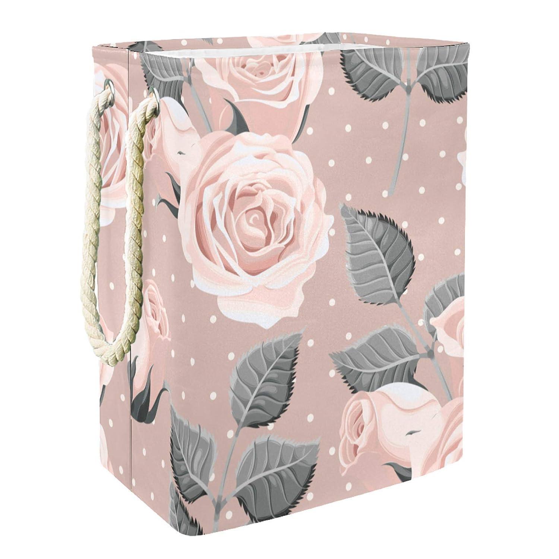 Pink Rose Superior Storage Bins Large Waterproof Max 48% OFF Foldable Clothes Hamper