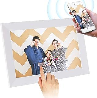 SCISHIONホワイトWiFiデジタルフォトフレーム 1280*800高解像度タッチスクリーン IPS視野角 16GB内部ストレージ 1080P写真/動画/音楽再生 家族/友人/彼女/彼氏などへのプレゼント装飾用—どこでもいつでも、アプリFr...