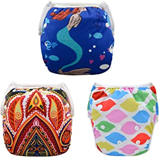 ALVABABY Swim Diapers 3pcs One Size Reuseable Washable & Adjustable for Swimming Lesson & Baby Shower Gifts 3SW11