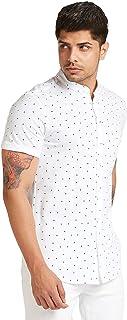 Iconic Men's 2300328 GEOMOE Knitted Regular Shirt, White