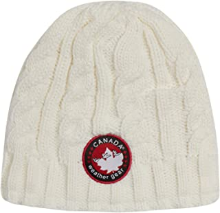 CANADA WEATHER GEAR Women's Fur Lined Cable Knit Beanie Hat