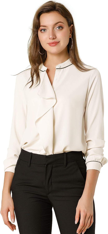 Allegra K Women's Fall Work Collar Button Down Shirts Long Sleeves Chiffon Blouse