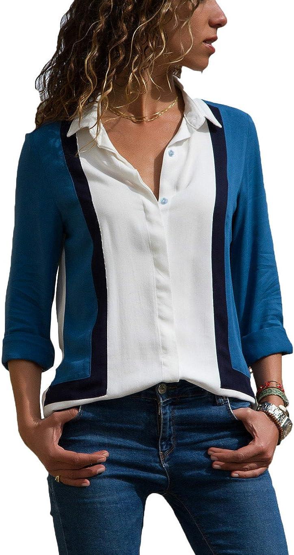 HUUSA Fashion Womens Tailored Long Sleeve Button Down Collar Shirt