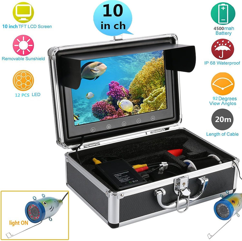 CWHALE Fish Finder 10 Zoll HD-Farbmonitor 1000TVL Unterwasserfischen-Videokamera-Kit 12 STüCKE Infrarot-Lampe leuchtet 20M klteBestendige wasserdichte und zugfeste Kabel