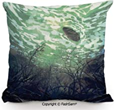 FashSam Polyester Throw Pillow Cushion Underwater World with Tree Branches Stones Waves and Reflection of Sun Digital Art for Sofa Bedroom Car Decorate(20
