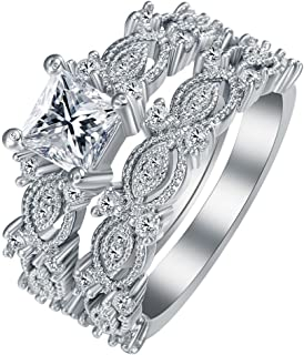 Ginger Lyne Collection Sabrina Beautiful 2pcs Stainless Steel Engagement Wedding Ring and Band Set