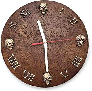 Skull Wall Clock Vintage Round Non-Ticking Sweep Wall Clock Classic Decorations Brown Alarm Clock Easy to Read Home Decor Best Gift