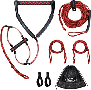 Affordura Wakeboard Rope Water Ski Rope with Floating Handles, Tow Rope for Tubing 4 Sections Tube Tow Rope (75 Feet), Sto...