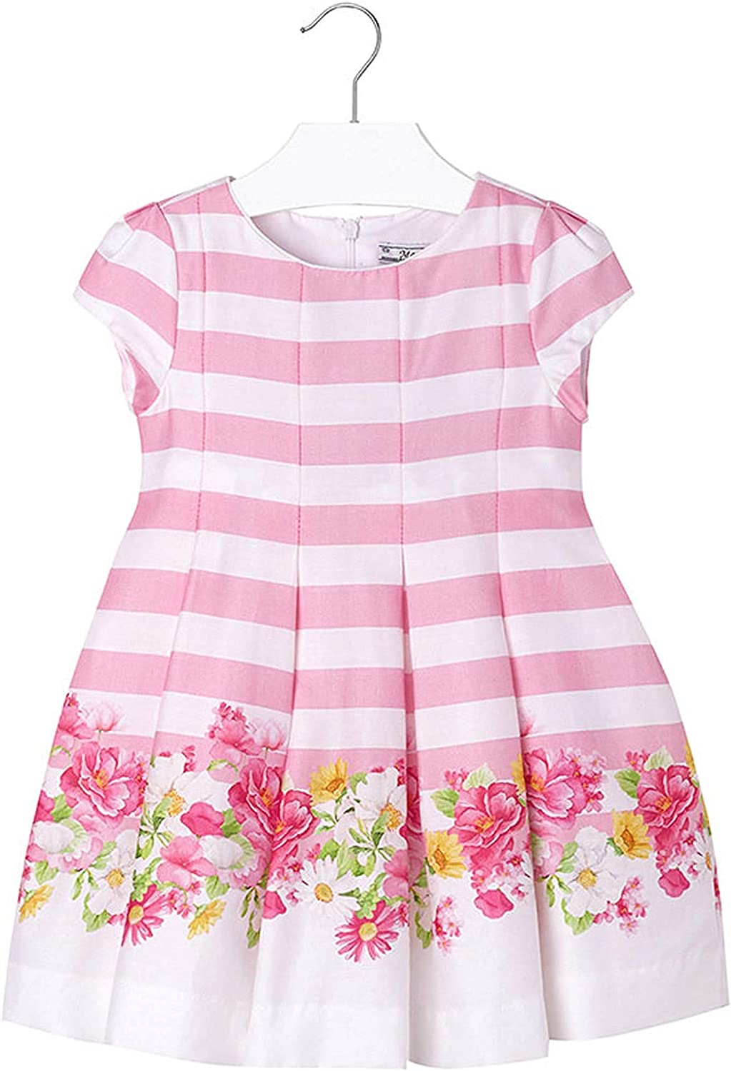 Mayoral Chic Little Girls 2-9 Pink/White Striped Floral Border Cotton Social Dress