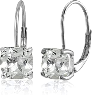 Sterling Silver Genuine, Created or Simulated Gemstone 7x7mm Cushion-Cut Leverback Earrings