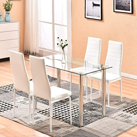 Round Tempered Glass Dining Table with 2//4 Black White Chairs Set Kitchen Room