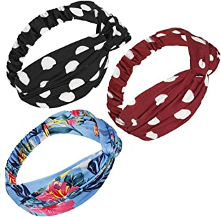 Samtree 3 Pack Headband for Women Boho Floral Head Wrap Stretchy Criss Cross Hair Accessories(Black Dots+Red Dots+Blue)