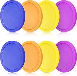 8 Pieces Air Hockey Pucks Replacement Round Pucks for Game Tables, Equipment, Accessories (Blue, Yellow, Purple, Orange, 3.2 Inch)