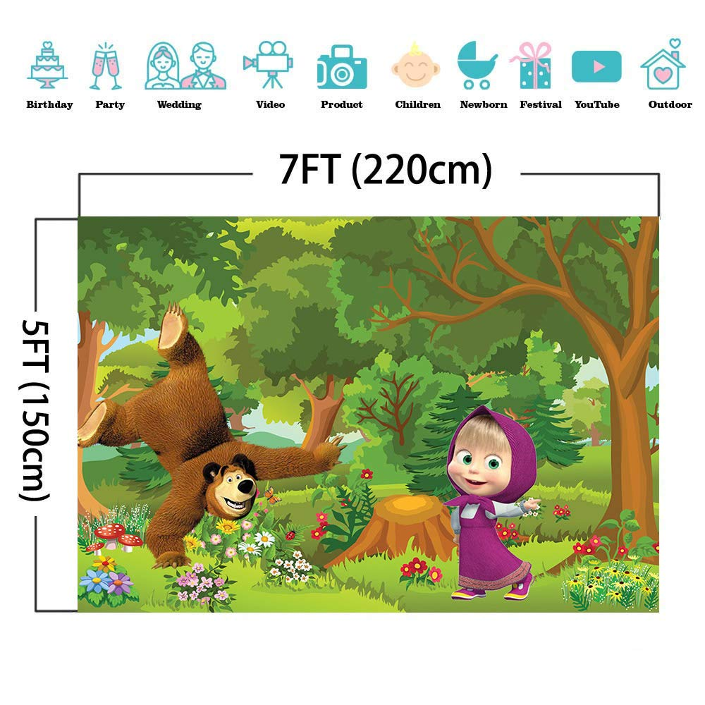 Cartoon Masha and The Bear Theme Backdrops Kids Birthday Party Photography Backdrop Blue Sky Forest Newborn Baby Shower Banner Cake Table Decoration Children Photo Background Studio Booth 7x5ft Vinyl