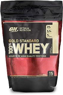 Optimum Nutrition ON Gold Standard 100% Whey Proteína en Polvo Suplementos Deportivos, Glutamina y Aminoacidos, BCAA, Helado de Vainilla, 14 porciones, 450g, Embalaje puede variar