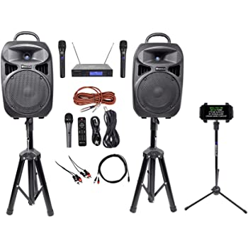 "Rockville 8"" iPhone/ipad/Laptop/TV Karaoke Machine/System+Wireless Mics+Stand"