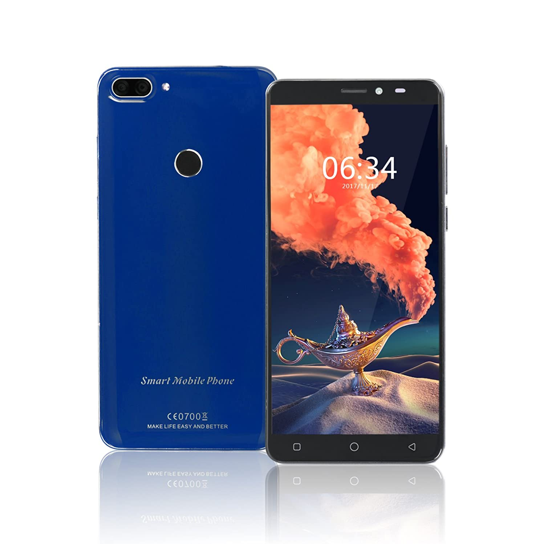Unlocked Cell Phones, HiSeen Android 7.0 MTK6750 3000mAh Battery 5.7 inch FHD Screen 3GB RAM + 32GB ROM Rear 13MP Camera with Fingerprint 4G Smartphones, Blue