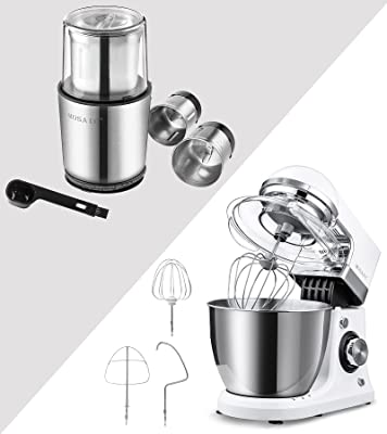 Electric Stand Mixer with 5 Qt Stainless Steel Bowl and Detachable Coffee Spice Grinder for Wet Spice