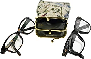 Home-X - Double Tapestry Snap-Shut Eyeglass Case, Holds Two Pairs at Once | Perfect for Readers an