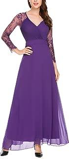 Women's Elegant Floral Lace 3/4 Sleeve Empire Waist Evening Party Maxi Dress Gown