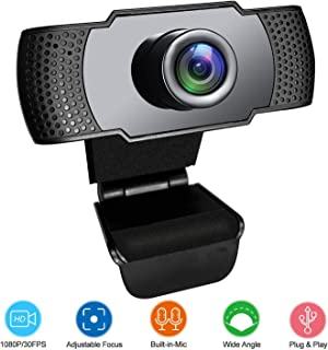Webcam with Microphone, 1080P HD Streaming USB Computer Webcam Camera Plug and Play [30fps] for PC Laptop Desktop Mac Video Conferencing Calling Gaming, Skype YouTube Zoom Facetime - by Lantoo